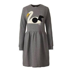 Orla Kiely Swan Towelling Sweatshirt Dress Gray Sm